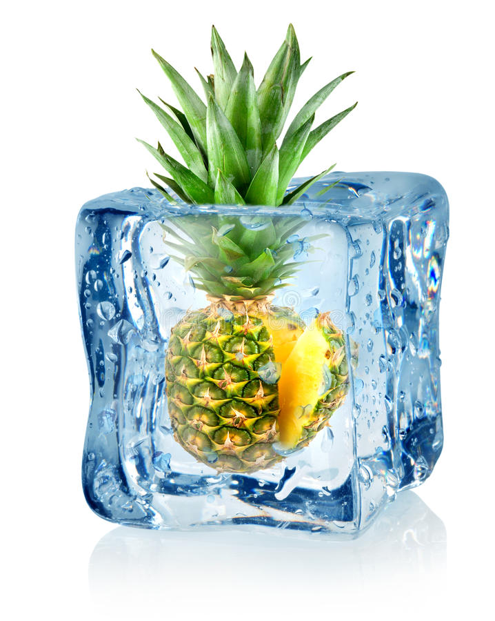 Ice cube and pineapple stock photo