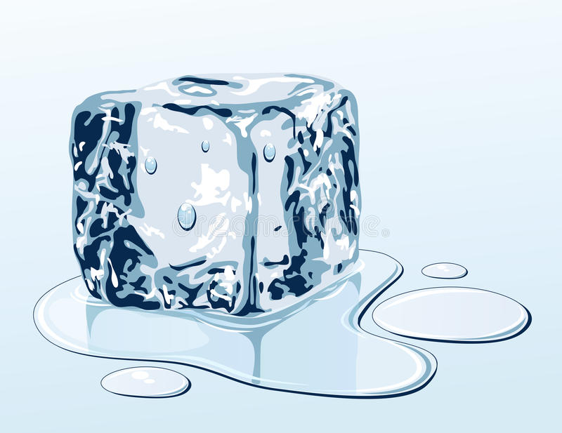 Download Ice cube on water surface stock vector. Image of melting - 18134391