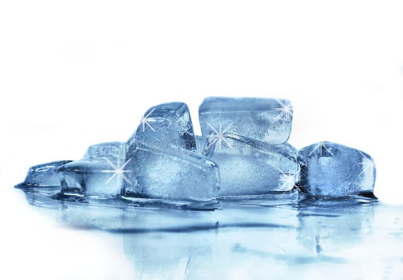 Ice cubes. On a white background stock images