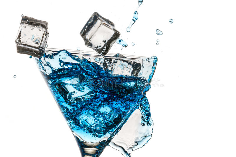 Ice cubes in broken glass stock photo