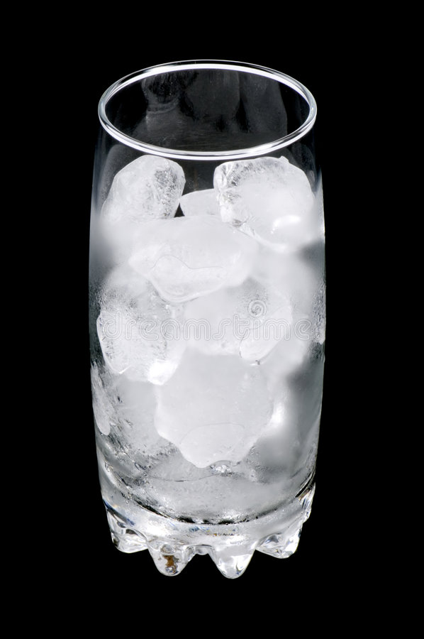 Frozen glass of water