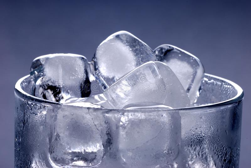 Ice cubes in glass stock image