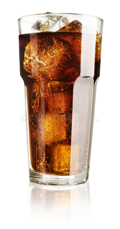 Ice cubes in glass of cola. Isolated on white background stock photo