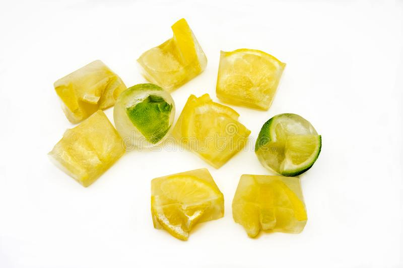 Ice cubes with lemons royalty free stock photography