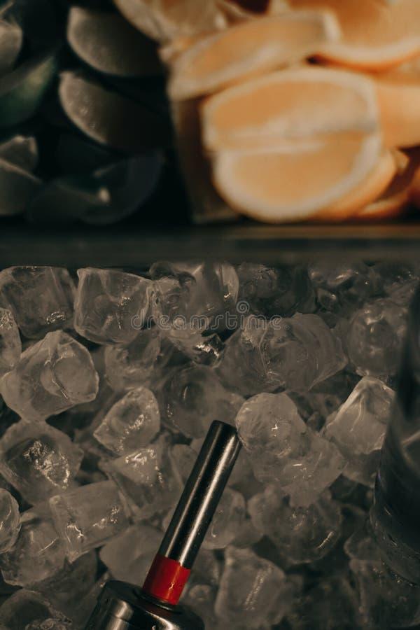 Ice cubes, lime, lemon stock image