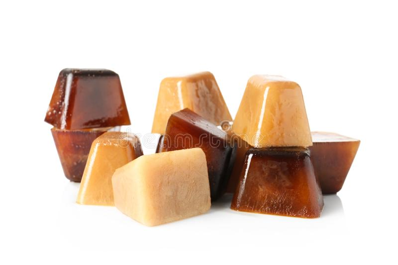 Ice cubes made with coffee royalty free stock image