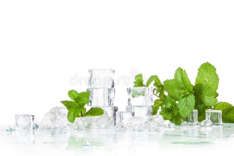 Ice cubes and mint leaves stock photography