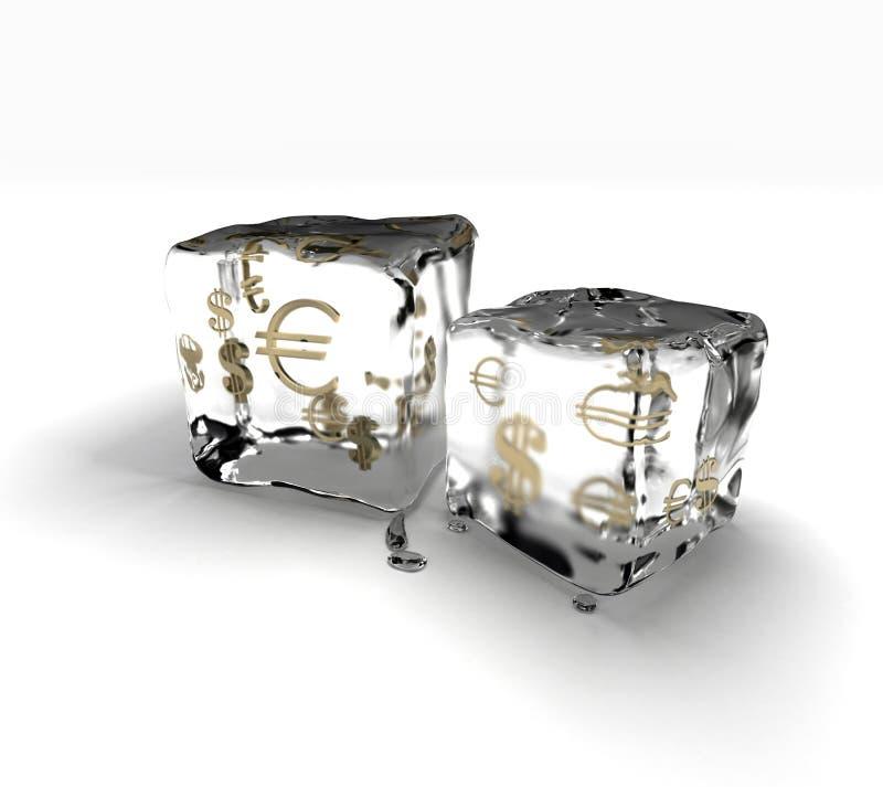 Ice cubes with money symbols