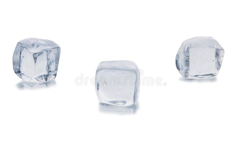 Ice cubes with reflection, isolated. Isolated stock image