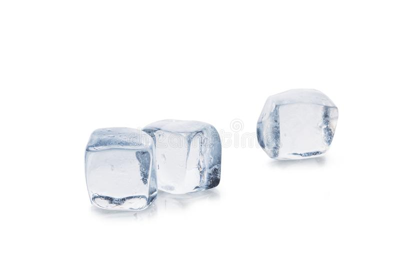 Ice cubes with reflection, isolated. Isolated stock photos