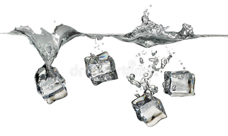 Ice cubes splashing into water. Four ice cubes splashing into water on white background royalty free stock photography