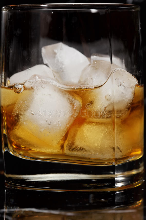 Ice cubes in whisky. Glass against dark background royalty free stock image