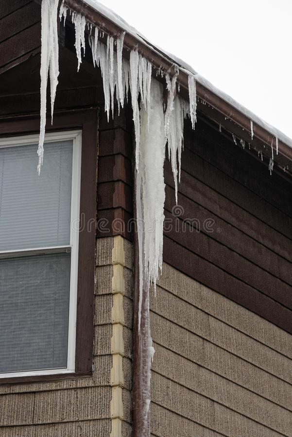 Free Ice Damming Of Gutter And Downspout Royalty Free Stock Photo - 164169715