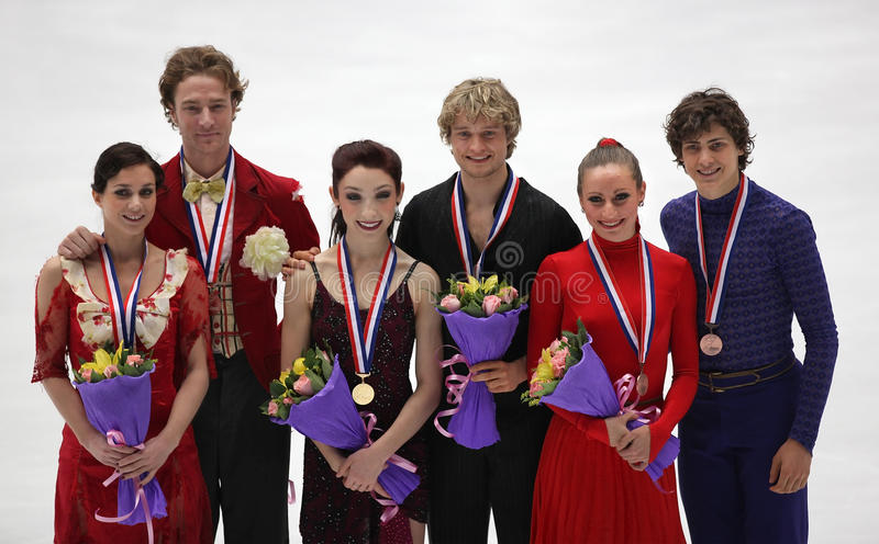 Ice Dance's medallists royalty free stock image