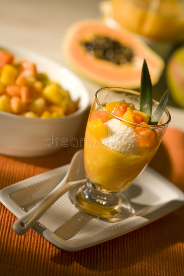 Ice dessert with tropical fruit royalty free stock photo