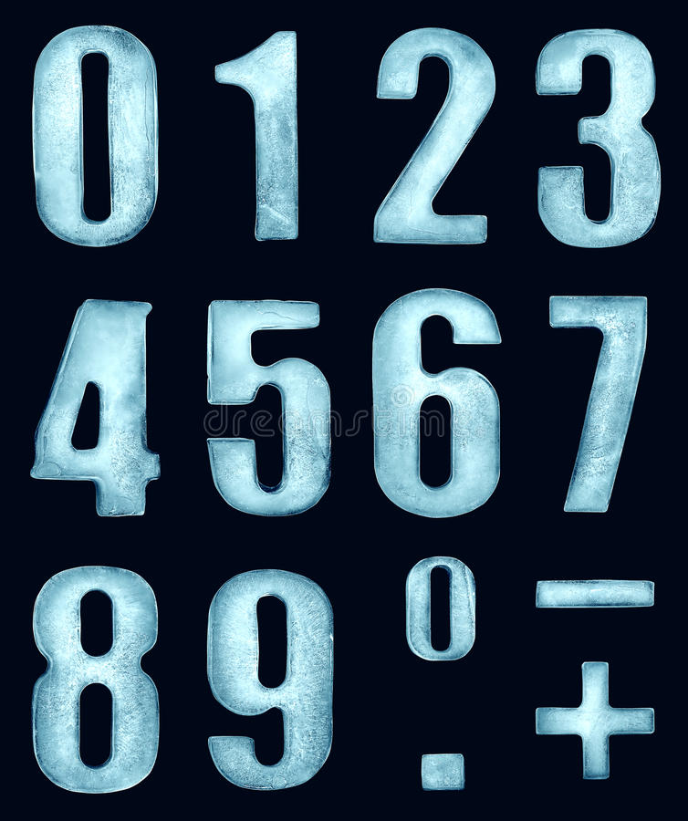 Ice numbers. Digits crafted from ice, isolated on dark background royalty free stock photos
