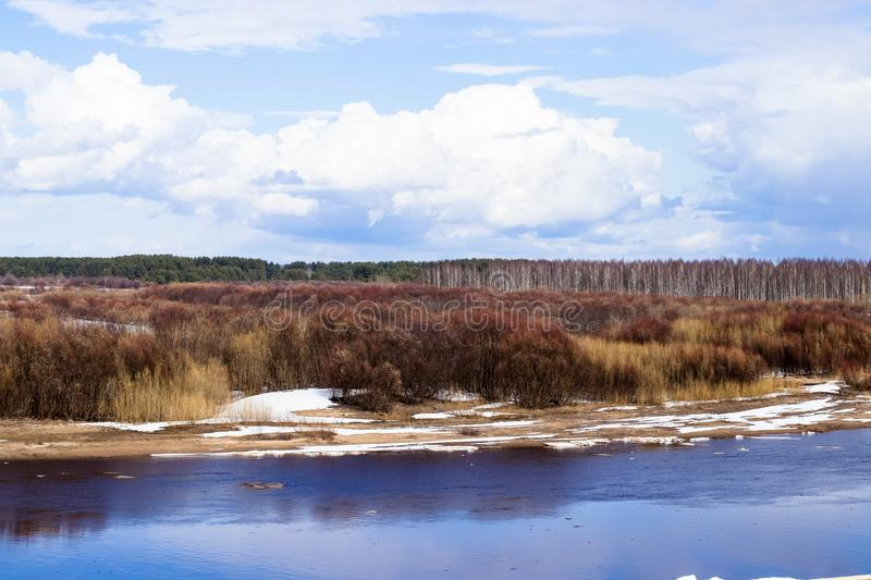 Ice drift on the river in the spring. royalty free stock photography