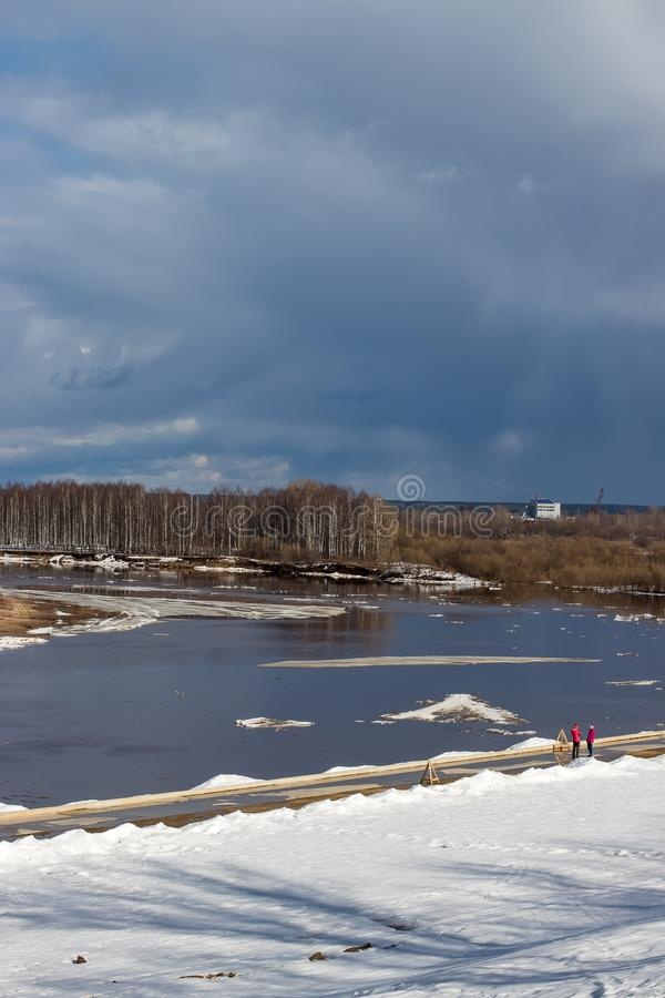 Ice drift on the river in the spring. stock photo