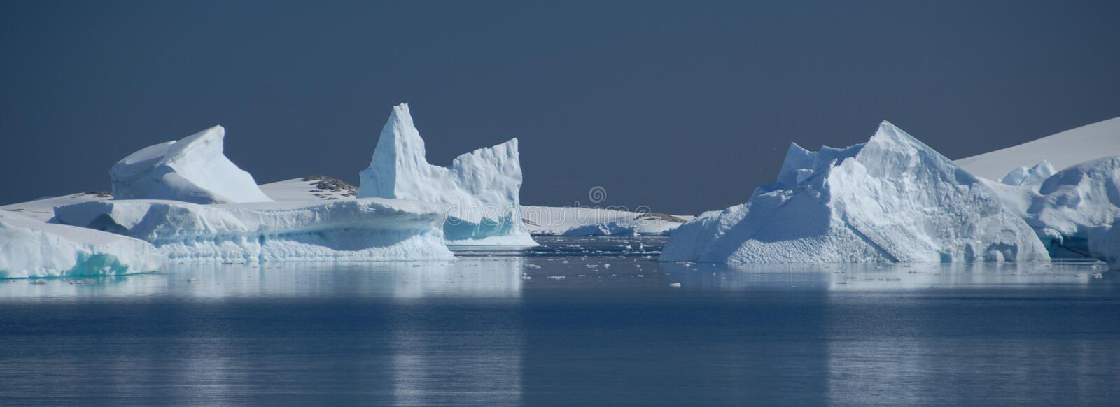 Ice drifts. And icebergs in Antarctica royalty free stock photo