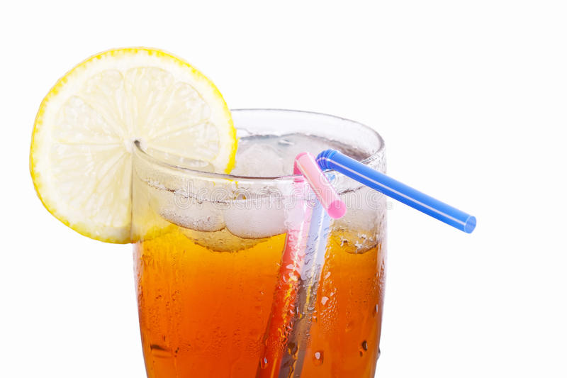 Ice drink for couple. A cup of ice lemon tea(drink) for couple(lovers royalty free stock photos