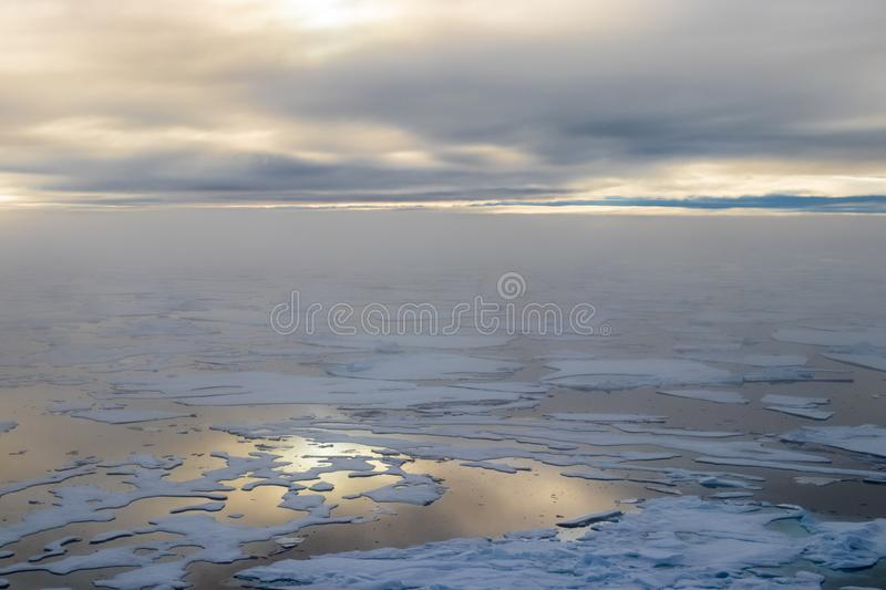 Ice edge at 82 41.01 degrees North from Svalbard at golden hr royalty free stock images