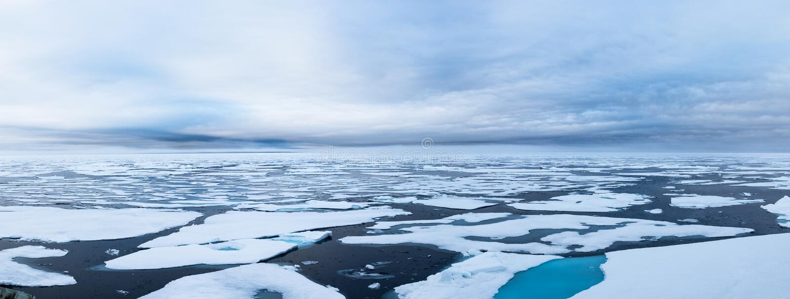 Ice edge at 82 41.01 degrees North from Svalbard. Panorama of the North Ice Edge at 82 41.01 degrees North from Svalbard, Arctic Ocean, Norway royalty free stock photography