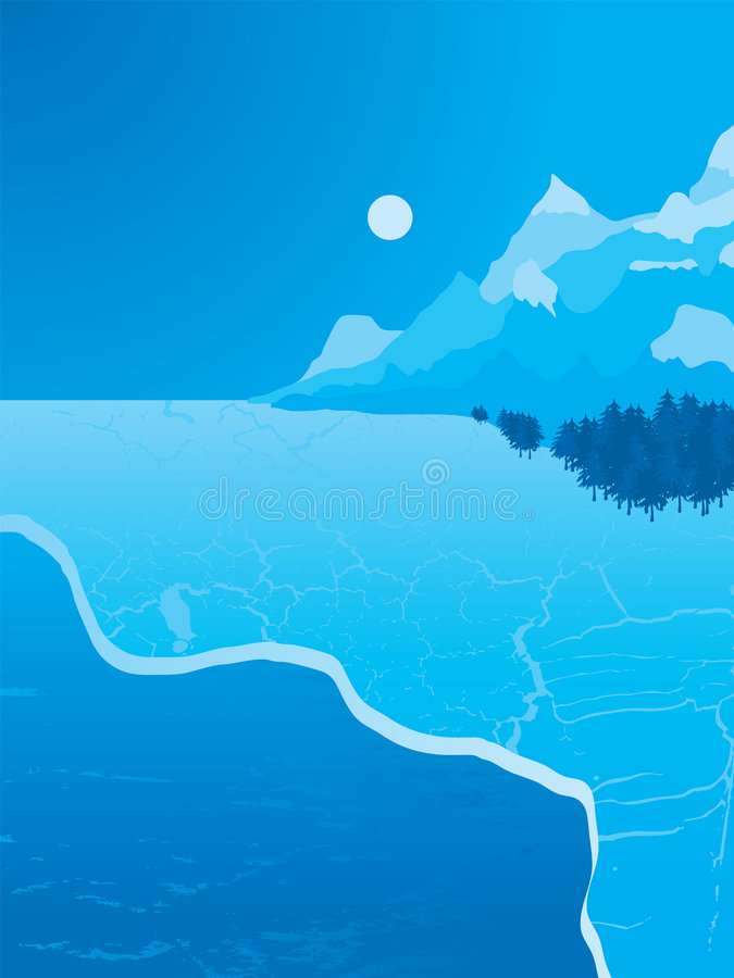 Ice expance. Illustrated ice scene with a range of mountains bordered by evergreen trees royalty free illustration
