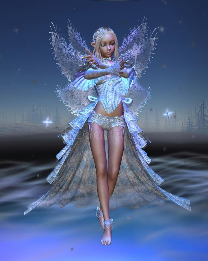 Download Ice Fairy With Winter Night Background Stock Photo - Image: 12416670