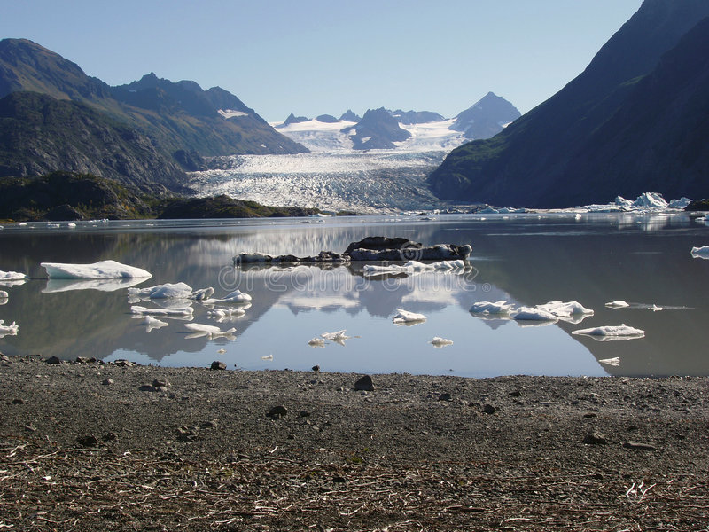 Ice filled lake with Glacier stock images