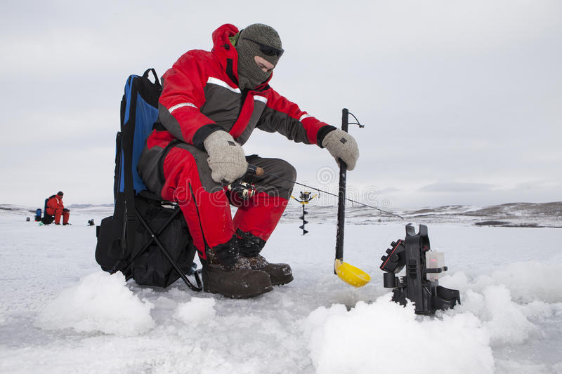 Ice Fishermen stock image