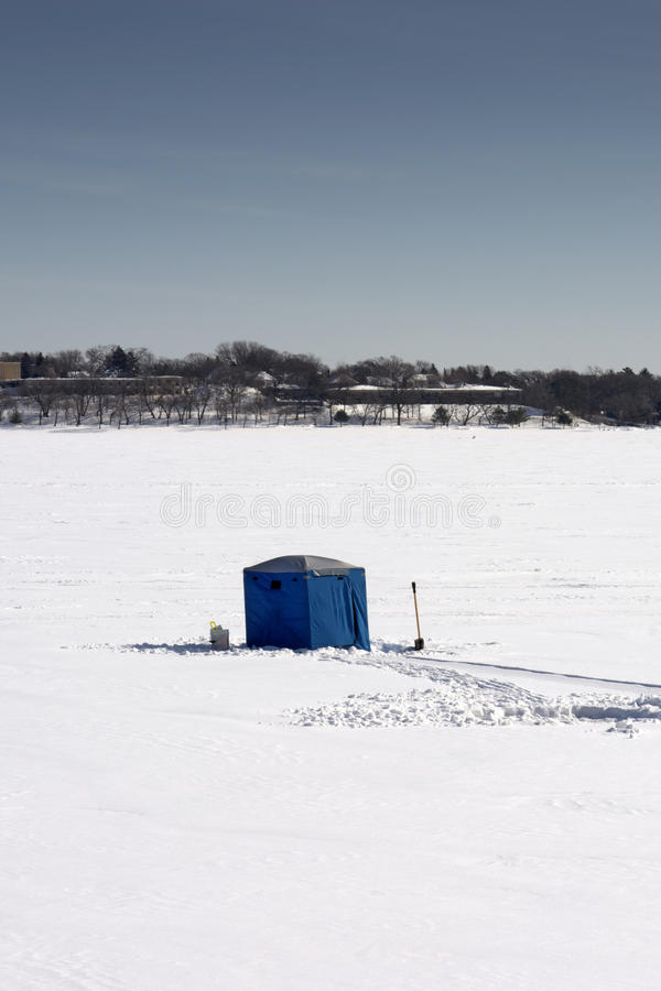 Ice fishing hut, lake Calhoun, Minneapolis, Minnesota, USA royalty free stock photo