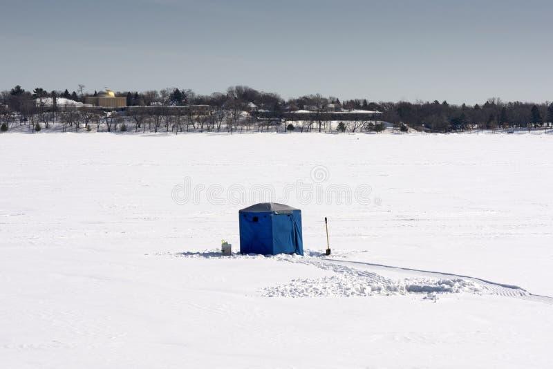 Ice fishing hut, lake Calhoun, Minneapolis, Minnesota, USA royalty free stock image