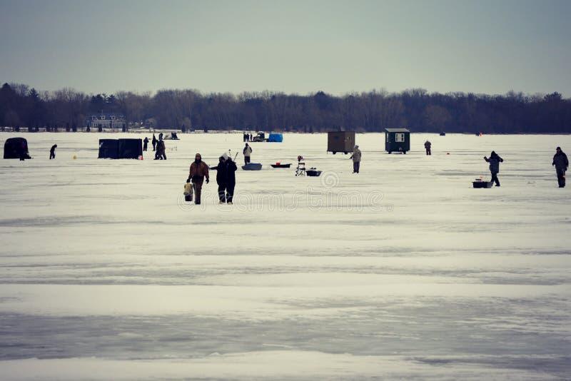 Ice Fishing. On Lake Delavan in Delavan, Wisconsin during the states free  weekend in January royalty free stock image