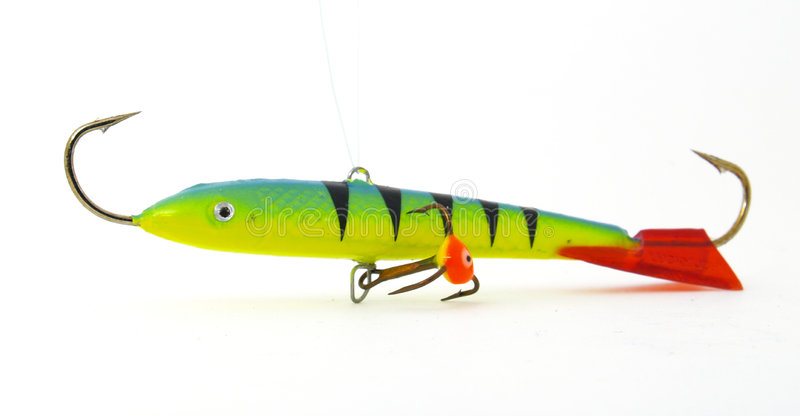 Ice fishing lure. On the white background stock photos