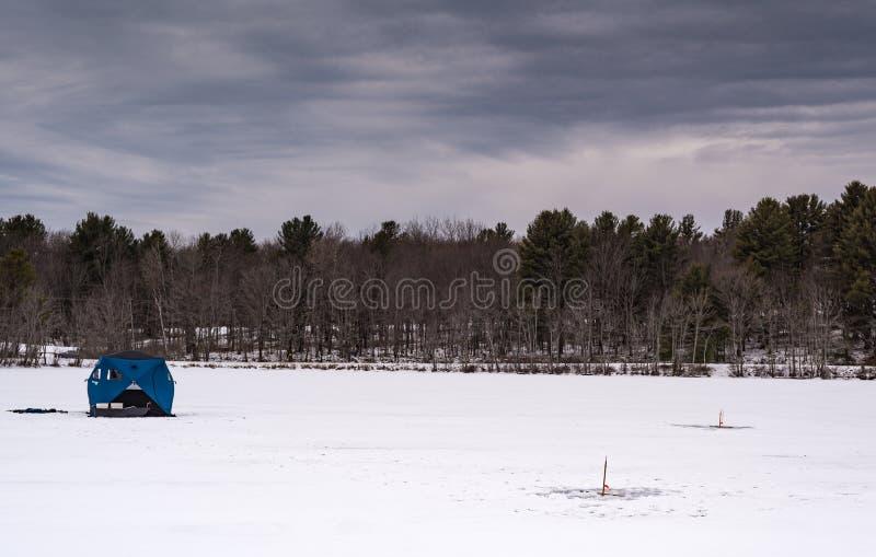 Ice Fishing Set Up - Grafton, New York - Grafton, New York royalty free stock image