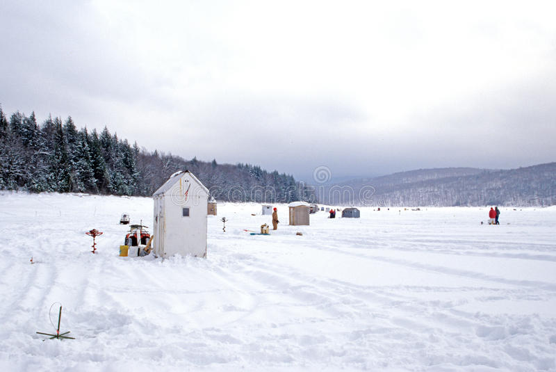 Ice fishing sheds Vermont royalty free stock image