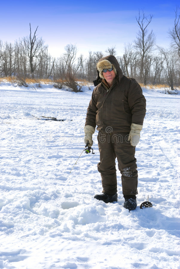 Ice Fishing:  Vertical Royalty Free Stock Images
