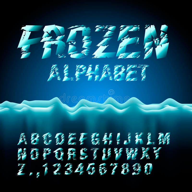 Ice font collection royalty free illustration