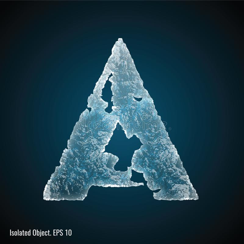 Ice Font of Letter A. Isolated ice shaped letter A vector illustration on dark background vector illustration