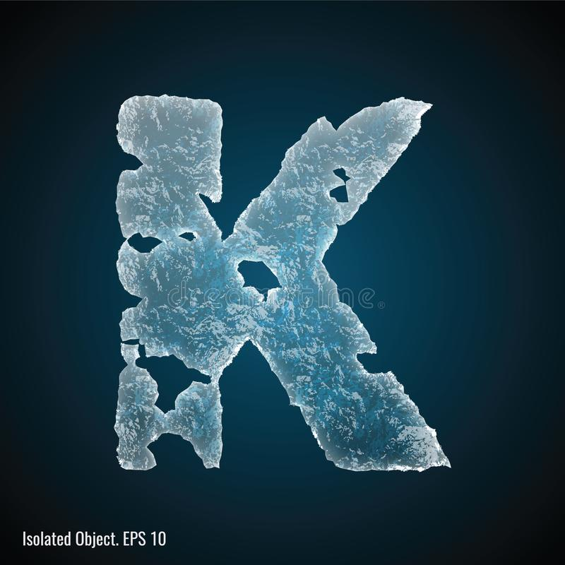 Ice Font of Letter K. Vector illustration of letter K on dark background, isolated object royalty free illustration