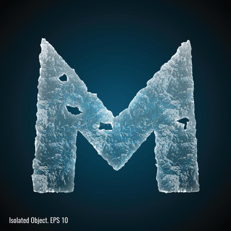 Ice Font of Letter M. Vector illustration of letter M on dark background, isolated object royalty free illustration
