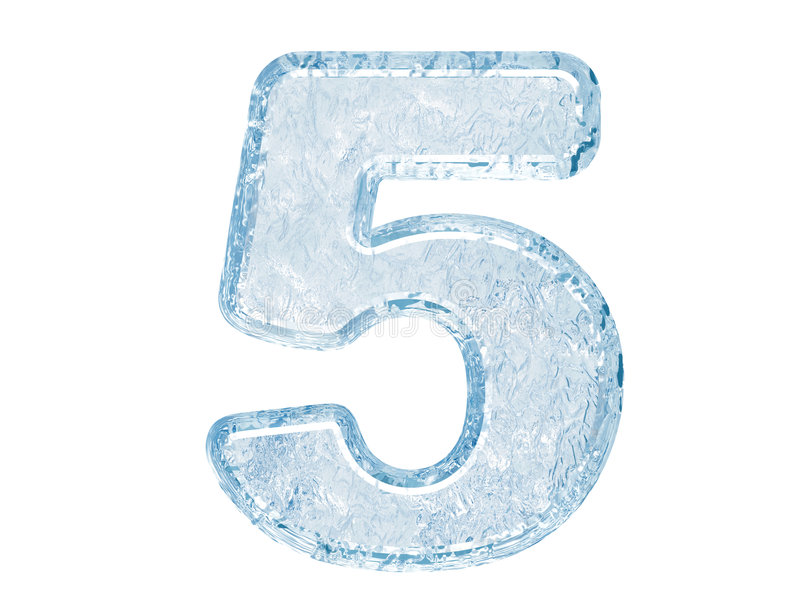Ice font. Number five stock illustration
