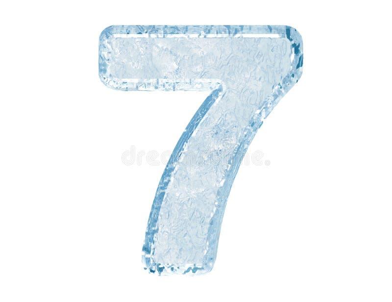 Ice font. Number seven stock illustration