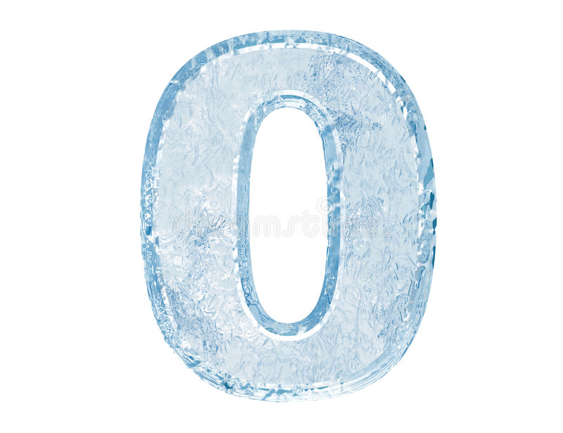 Ice font. Number zero stock illustration