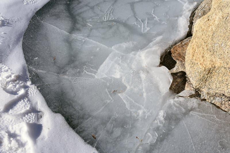 Edge of frozen lake next to the rocks stock photo
