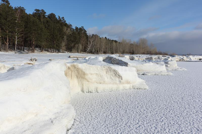 Ice forming on the river, Ob reservoir, Siberia stock image