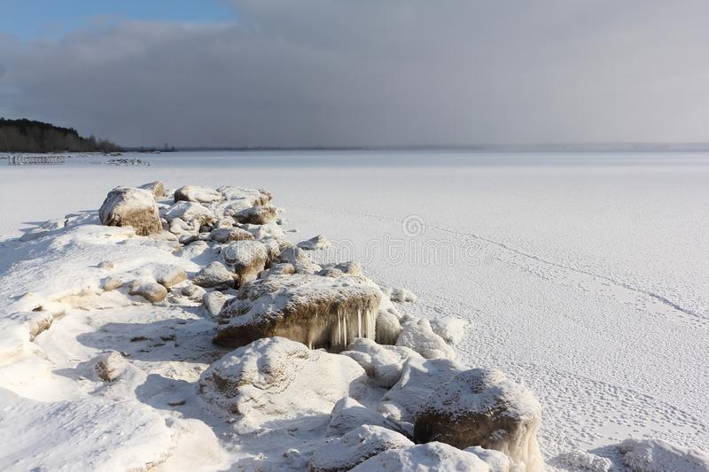 Ice forming on the river, Ob reservoir, Siberia royalty free stock photo