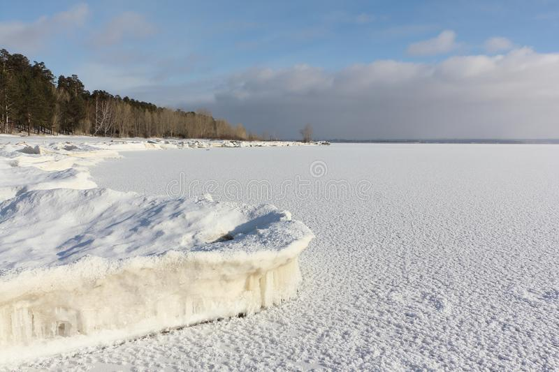 Ice forming on the river, Ob reservoir, Siberia stock photo