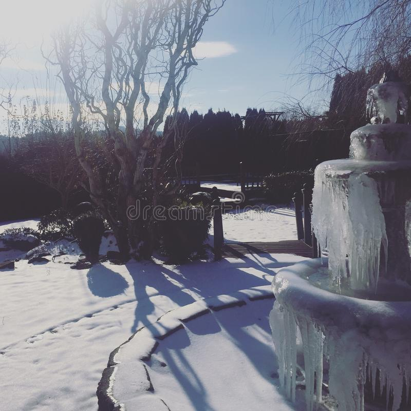 Ice fountain stock photo