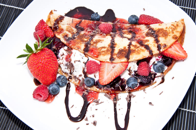 Ice In Fresh Pan Cake With Fruits Stock Photography